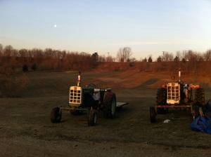 Sunrise -- moonset over the farm