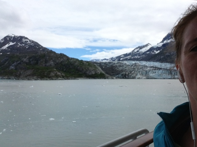 I actually snapped this picture on accident while running around the deck (you can see the collar of my jacket and side of my face on the right corner) and there's a glacier in the background.
