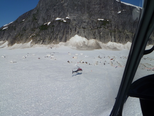 Arriving at the musher's camp on Norris Glacier.