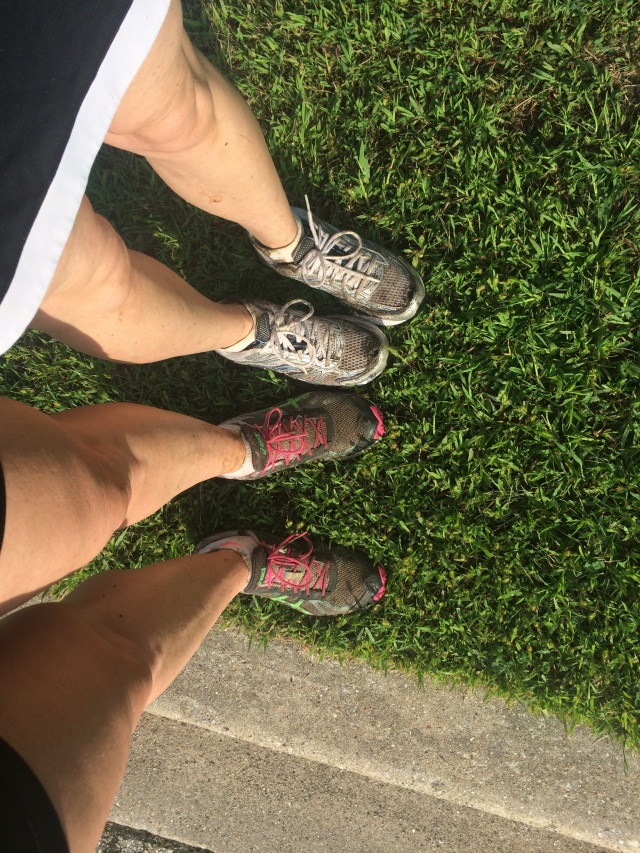 A sign of a good run is muddy shoes.  My friend Lisa and I had a great one yesterday. The more trail runs I can incorporate into this training program, the happier I will.